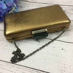 NWT J Crew Metallic Leather Minaudière Evening Bag